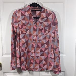 Maison Scotch pink triangle print button down top